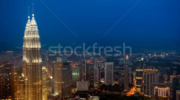 Kuala Lumpur gün batımı görmek mavi gökyüzü Stok fotoğraf © szefei