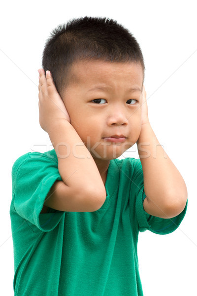 Asian child covered ears Stock photo © szefei