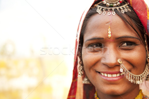 Happy Indian woman Stock photo © szefei