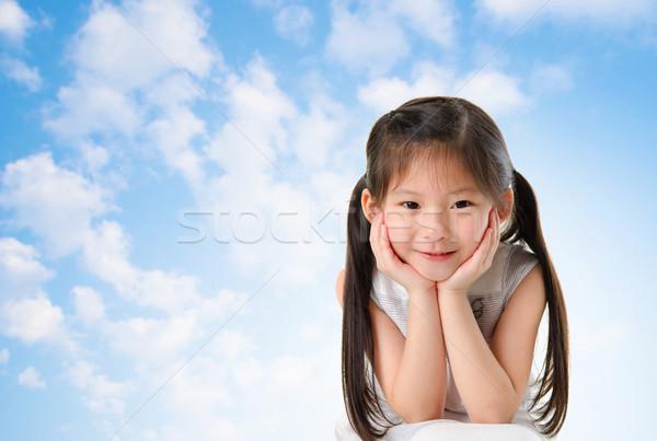 Stock foto: Jungen · asian · Mädchen · Lächeln · Gesicht · Sitzung