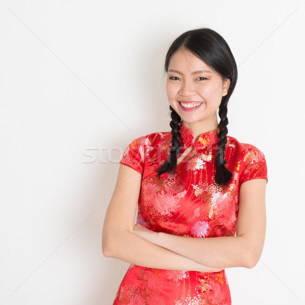 Asian chinese girl cheongsam Stock photo © szefei