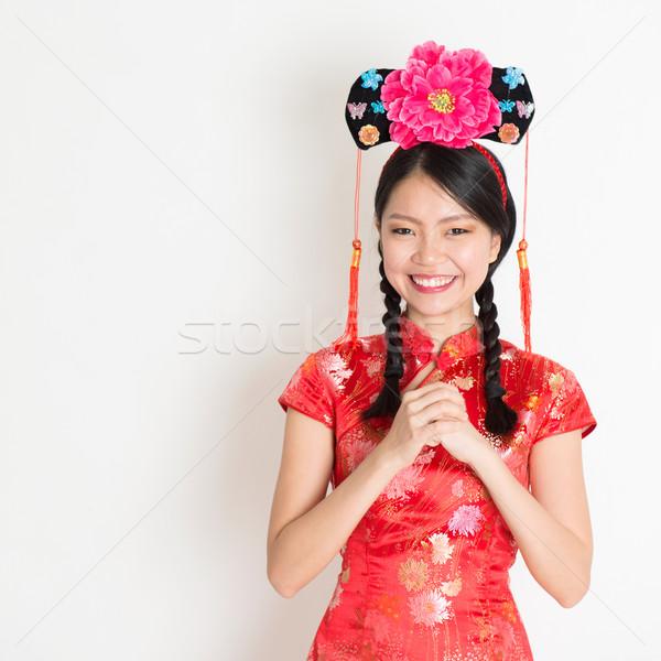 Asian chinese girl wishing Stock photo © szefei