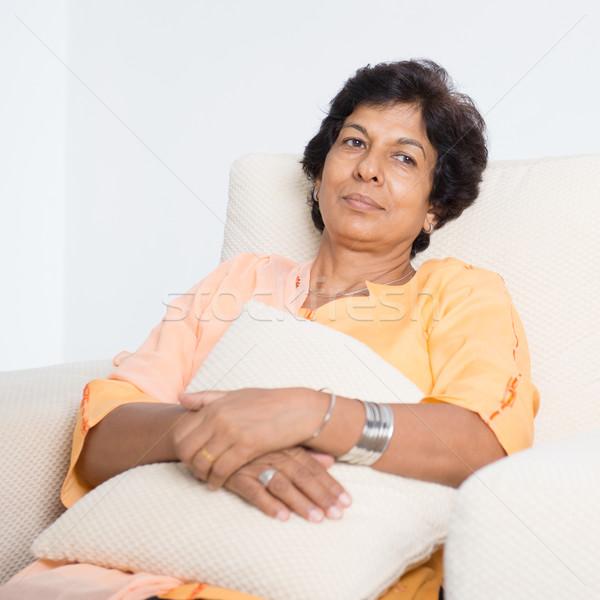 Moe indian rijpe vrouw portret 50s Stockfoto © szefei