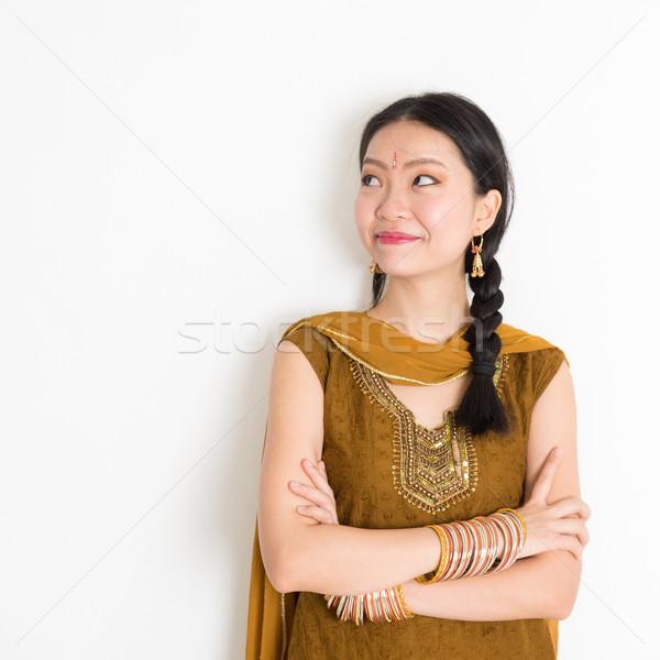 Mixed race Indian girl in sari dress Stock photo © szefei