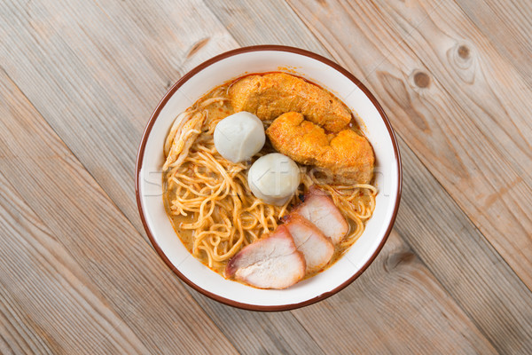 Top view Curry Noodles Stock photo © szefei