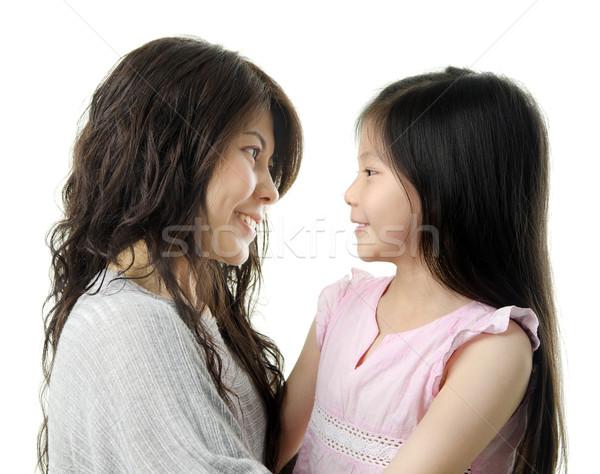 Anya engem ázsiai lánygyermek szemtől szembe fehér Stock fotó © szefei