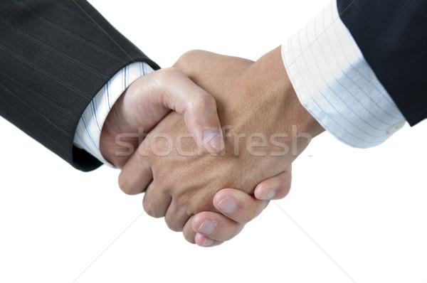 рук бизнесменов рукопожатием изолированный белый фон Сток-фото © szefei