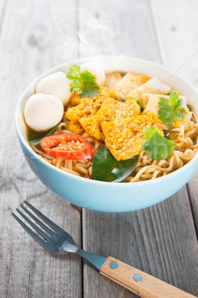 ストックフォト: 辛い · カレー · インスタント · 麺 · スープ · フォーク