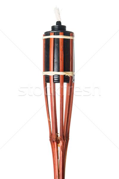 Bambou lampe de poche lampe isolé blanche Photo stock © szefei