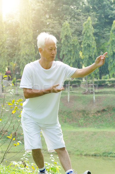 Old people workout outdoor  Stock photo © szefei