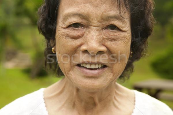 Stockfoto: Asian · senior · vrouw · 80s · park · ochtend