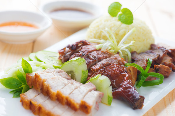 Roasted duck, roasted pork crispy siu yuk and Charsiu Stock photo © szefei