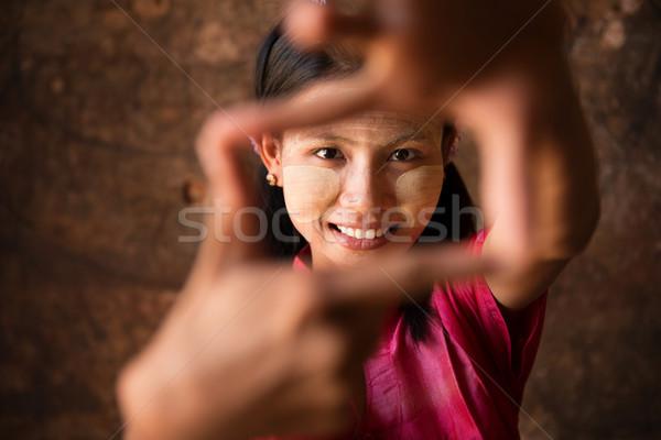 Mianmar menina jogar diversão belo jovem Foto stock © szefei