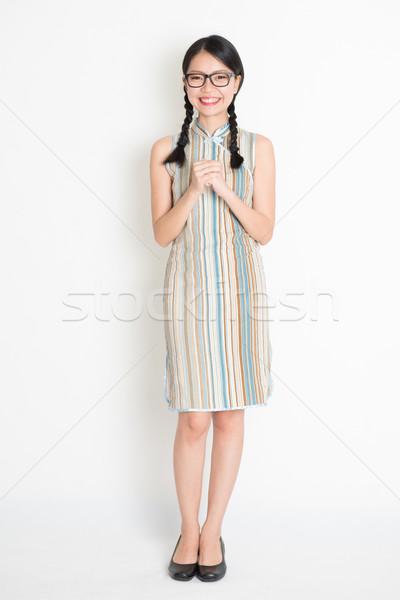 Feliz ano novo chinês retrato asiático chinês menina Foto stock © szefei