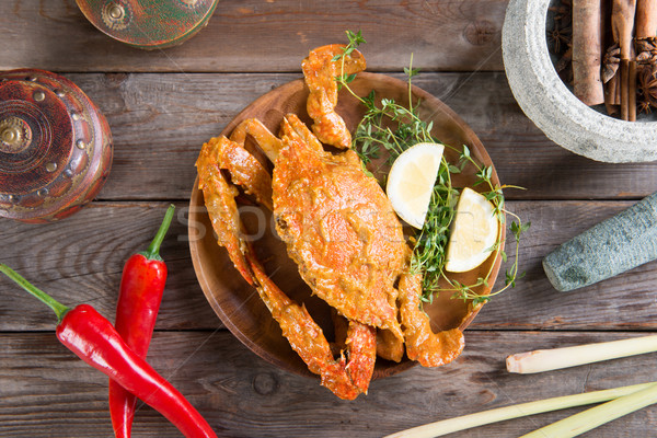 Tasty hot and spicy chili crab Stock photo © szefei
