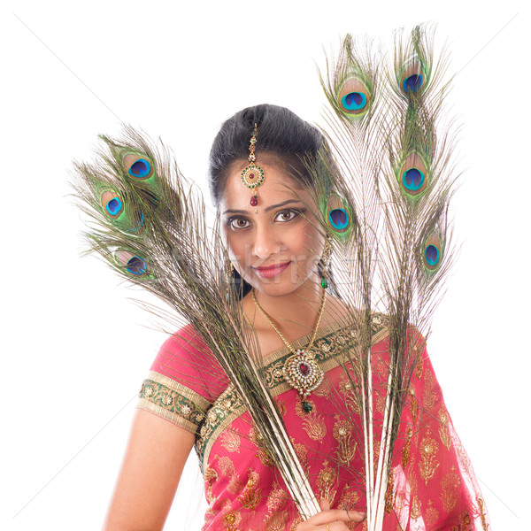 Hint kız tavuskuşu portre güzel Stok fotoğraf © szefei