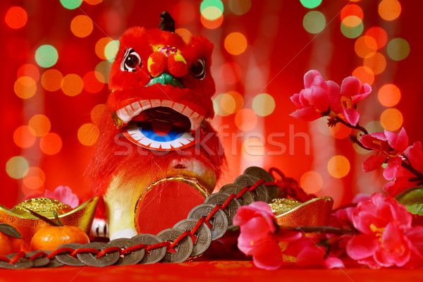 Chinese New Year elements in red background Stock photo © szefei