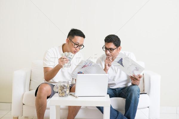 Internet marketing ázsiai férfiak dolgozik otthon fiatal Stock fotó © szefei