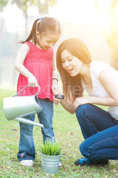 Family exploring the nature. Stock photo © szefei