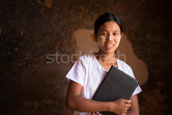 Mianmar estudante tradicional arquivo dobrador mulher Foto stock © szefei
