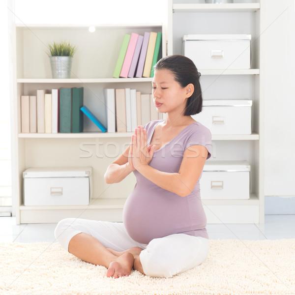 Meditation yoga at home Stock photo © szefei