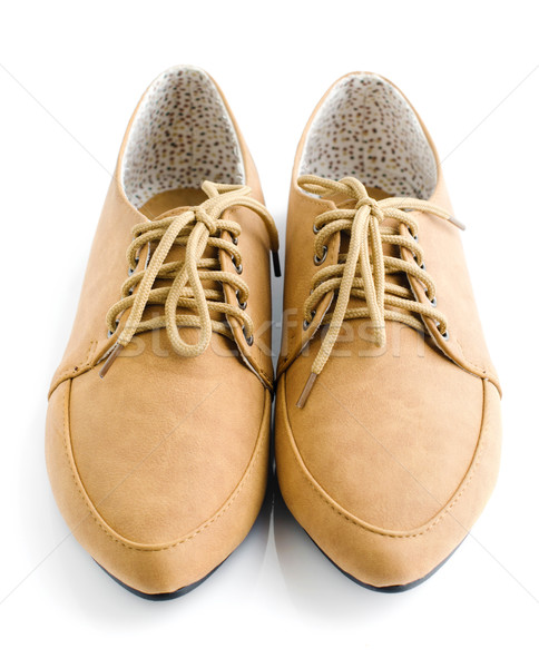 Casual brown leather lady shoes Stock photo © szefei