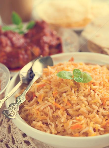 Culinária indiana arroz caril de frango retro efeito arte Foto stock © szefei