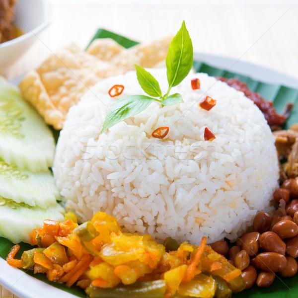 Picante alimentos tradicional arroz plato servido Foto stock © szefei
