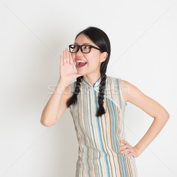 Asian Chinese female  shouting loud Stock photo © szefei