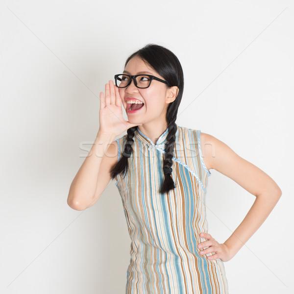 Asian chinese vrouwelijke luid portret Stockfoto © szefei