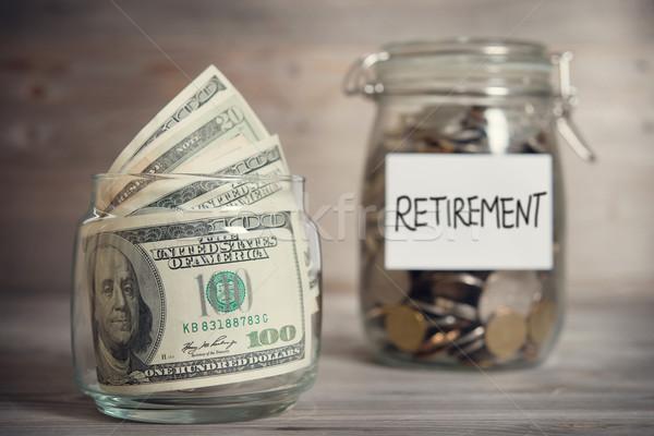 Dolar madeni para kavanoz emeklilik etiket cam Stok fotoğraf © szefei