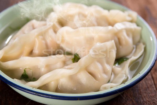 Close up fresh dumplings soup  Stock photo © szefei