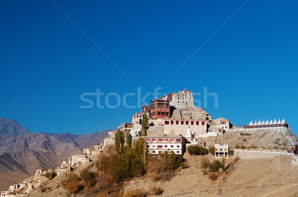 Hindistan manastır mavi gökyüzü derin kuzey doğa Stok fotoğraf © szefei