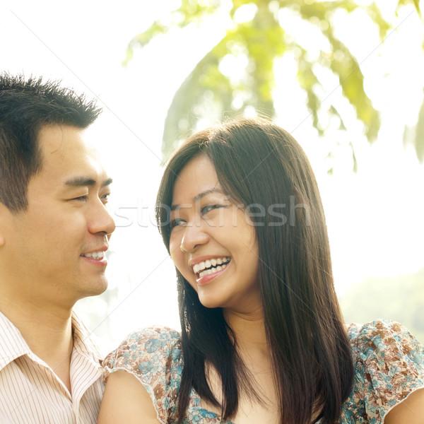Szeretet első látnivaló ázsiai pár férfi Stock fotó © szefei