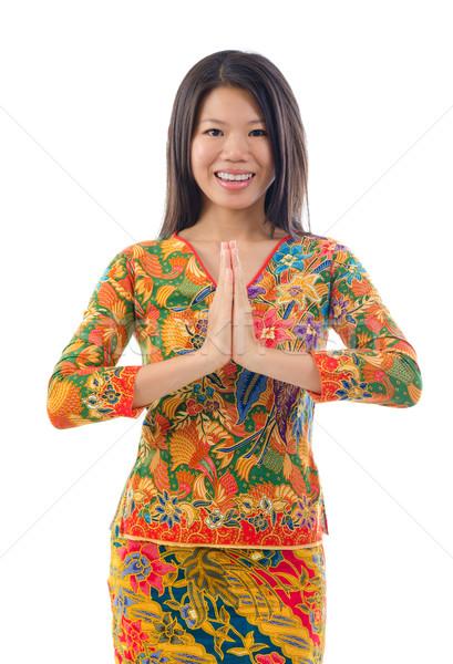 Sudeste asiático feminino saudação tradicional gesto Foto stock © szefei