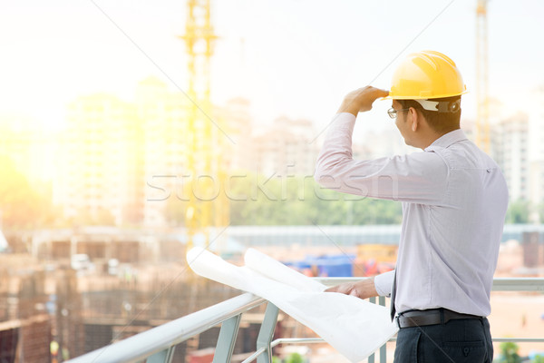 Asian Indian male site contractor engineer on site Stock photo © szefei