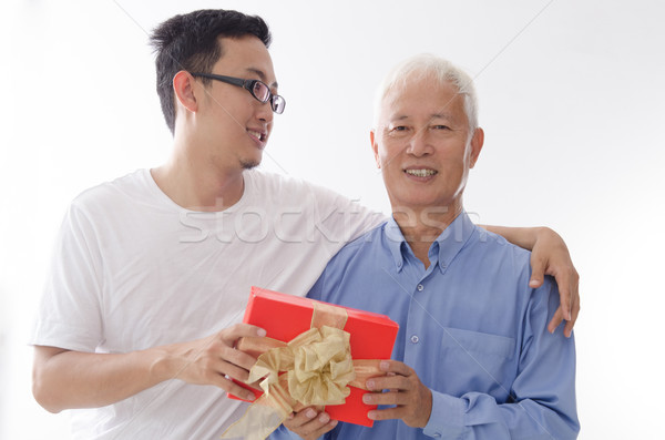 Happy fathers day and gift box Stock photo © szefei