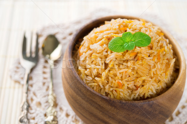 Riz basmati nourriture indienne fraîches cuit indian Photo stock © szefei