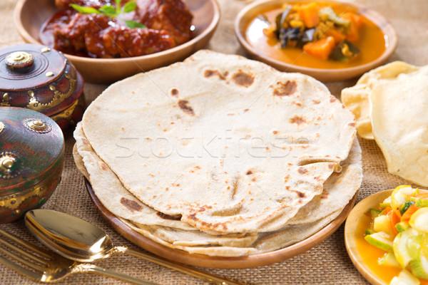 Kenyér indiai curry híres Szingapúr indiai étel Stock fotó © szefei
