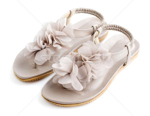 Vrouw tenen zomer schoenen geïsoleerd Stockfoto © szefei