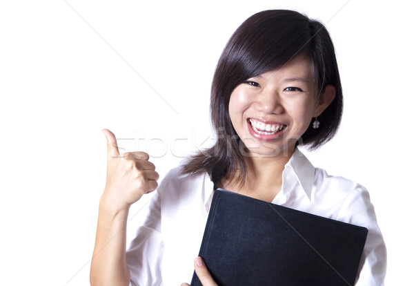 Amanhã asiático menina assinar Foto stock © szefei
