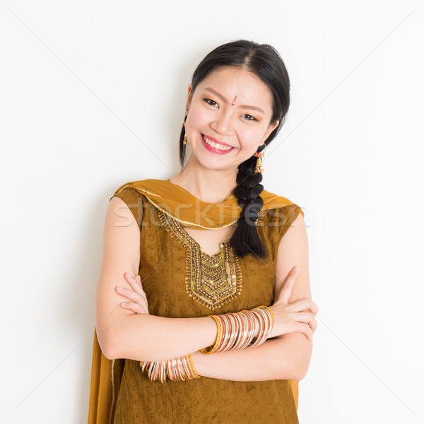 Indian Chinese girl in sari Stock photo © szefei