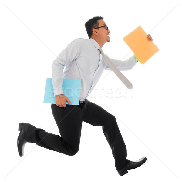 Asian affaires dépêchez courir jeunes Photo stock © szefei