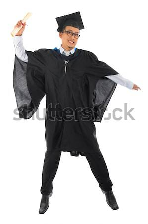 Délkelet ázsiai egyetemi hallgató teljes alakos boldog érettségi Stock fotó © szefei