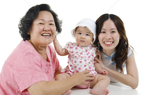 Generációk ázsiai családi portré boldog család nagymama Stock fotó © szefei