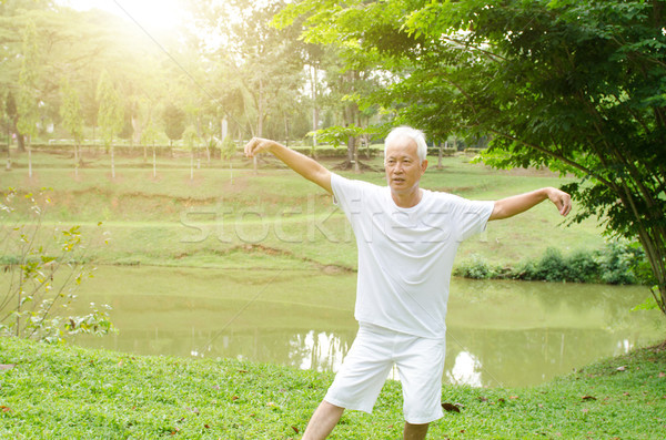 Asiático velho parque retrato saudável Foto stock © szefei