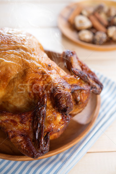 Roast chicken ready to eat Stock photo © szefei