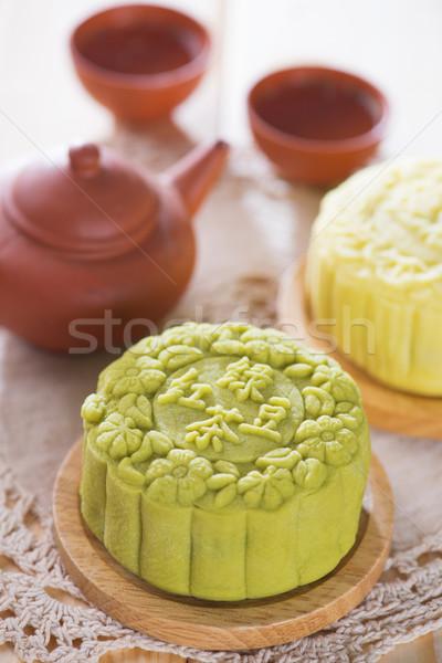 Snowy skin green tea paste mooncake Stock photo © szefei