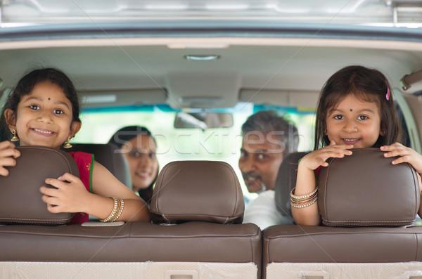 Indian famiglia seduta auto felice sorridere Foto d'archivio © szefei
