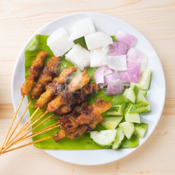 Asian food chicken satay Stock photo © szefei